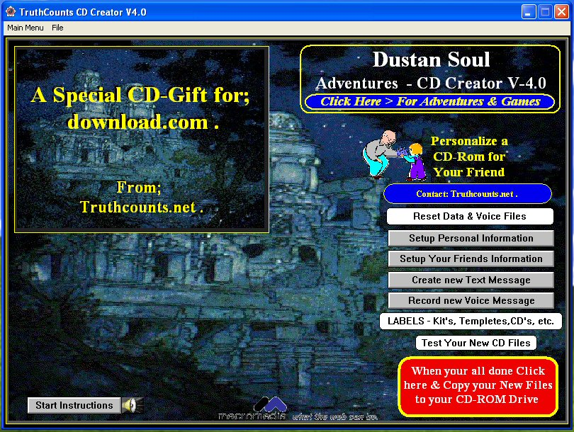 Click to view Dustan Soul Adventures CD/DVD Creator 6.0 screenshot